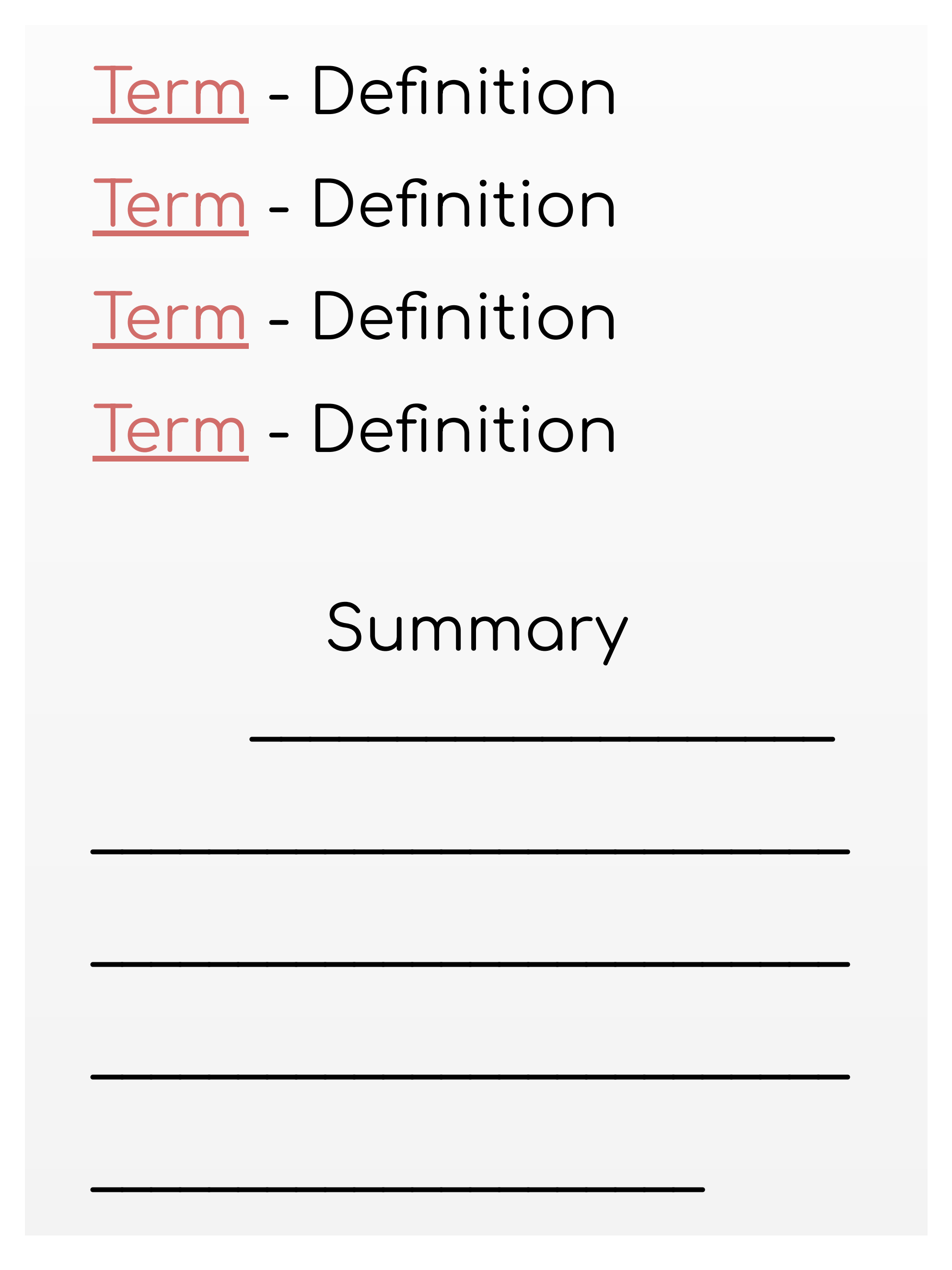 Abstract representation of definitions and summary
