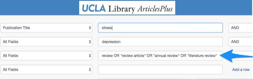 Searching for review articles in ArticlesPlus or Google Scholar.