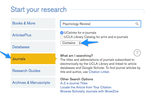 Screenshot of searching for review articles on UCLA Library homepage.