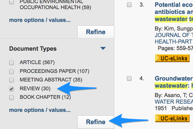 Screenshot of filtering results for review articles in Web of Science.